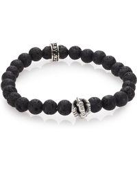 King Baby Studio Lava Rock & Onyx Beaded Bracelet black - Lyst