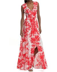 Plenty by Tracy Reese Pleated Tropical Print Maxi Dress - Lyst