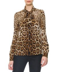Dolce & Gabbana Leopard Print Tie-Neck Silk Blouse - Lyst