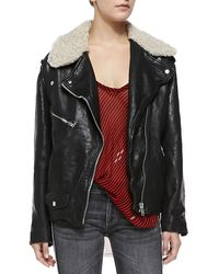 Etoile Isabel Marant Benny Shearling Fur-Collar Moto Jacket - Lyst