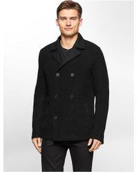 Calvin Klein | White Label Premium Textured Wool Peacoat | Lyst