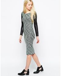 Wal-G Knitted Midi Dress With Leather Look Sleeves - Lyst