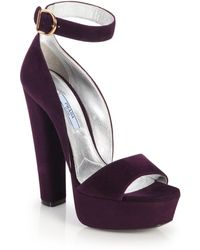 Prada Suede Platform Sandals purple - Lyst