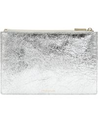 Whistles Medium Cracked Metallic Clutch - Lyst