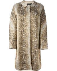 Giorgio Armani Snakeskin Print Coat - Lyst