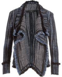 Donna Karan New York Cotton-Linen Draped Blazer - Lyst