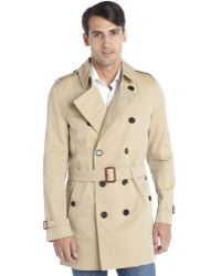 Burberry Beige Cotton Blend Button Down Belted Long Sleeve Trench Coat - Lyst