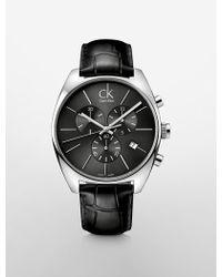 Calvin Klein Platinum Label Exchange Black Croco Leather Strap Cool Grey Dial Watch - Lyst