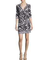 Diane von Furstenberg New Julian Mixed-Print Silk Wrap Dress - Lyst