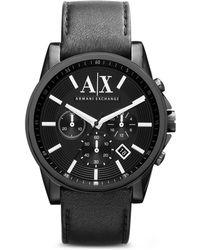 Armani Exchange A X Armani Exchange Leather Strap Chronograph Watch, 45Mm - Lyst