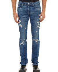 Frame Denim Ripped Slim Jeans - Lyst