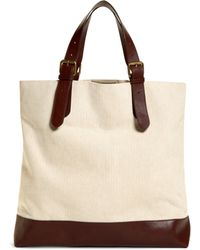 Brooks Brothers Herringbone Canvas and Leather Tote - Lyst