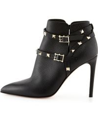 Valentino Rockstud Point-Toe Studded-Harness Ankle Boot - Lyst