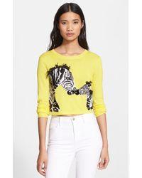 Alice + Olivia Khan Sequin Zebra Crop Sweater - Lyst