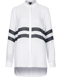 Topshop Womens Sheer Stripe Panel Shirt  White - Lyst