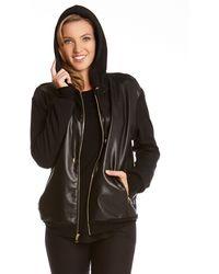 Karen Kane Faux Leather Front Jacket - Lyst