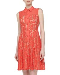 Muse Sleeveless Lace Shirtdress - Lyst