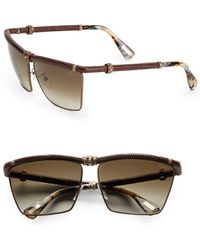 Lanvin Snake-Embossed Leather-Trim Square Sunglasses/Brown - Lyst