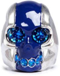 Alexander McQueen Stripe Skull Ring - Lyst