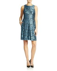 Eliza J Metallic Floral Print Dress - Lyst