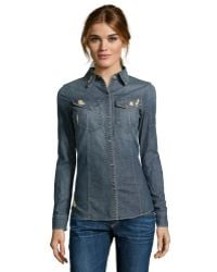 James Jeans Charm Cotton 'Essential' Long Sleeve Chambray Shirt - Lyst