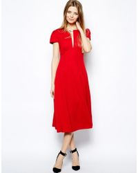 Asos Midi Dress With Fit And Flare Skirt - Lyst