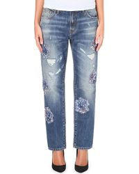 MSGM Straight Leg Mid Rise Embellished Jeans 89 - Lyst