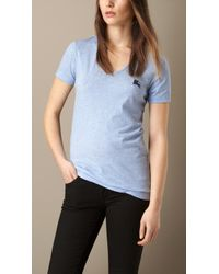 Burberry V-Neck Cotton Jersey T-Shirt - Lyst