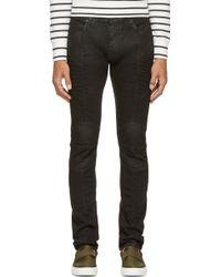 Balmain Black Coated Ribbed Biker Jeans - Lyst