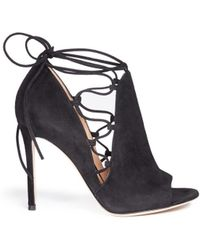 Gianvito Rossi | 'jennie' Cutout Lace-up Suede Sandal Boots | Lyst