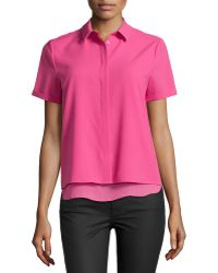 Cooper & Ella Caroline Tailored Short-Sleeve Shirt - Lyst