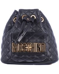 Moschino Black Stitched Leather Mini Backpack blue - Lyst