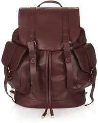 Topshop Womens Grainy Faux Leather Pocket Backpack Burgundy - Lyst