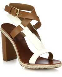 Tory Burch Rope-Trimmed Leather Sandals brown - Lyst