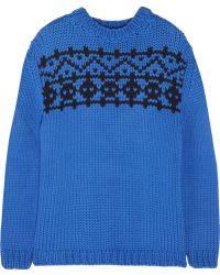 Miu Miu Intarsia Wool Sweater - Lyst