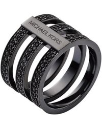 Michael Kors Glitz Black-Plated Stacked Ring black - Lyst