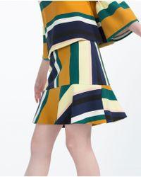 Zara   Striped Mini Skirt   Lyst
