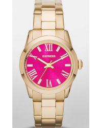 Express - Analog Bracelet Watch - Bright Pink And Gold - Lyst