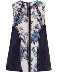 Mary Katrantzou Evina Printed Silk Top - Lyst