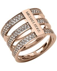 Michael Kors - Rose Goldtone And Crystal Tiered Ring - Lyst