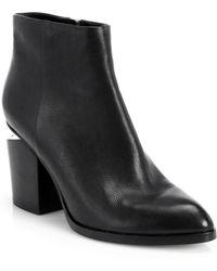Alexander Wang Gabi Notch-Heel Leather Booties black - Lyst
