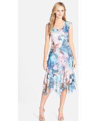 Komarov Print Lace & Chiffon A-Line Dress - Lyst