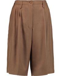 Agnona - Pleated Woven Silk Shorts - Lyst