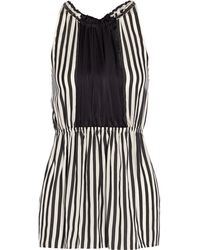 Vera Wang Striped Silk Top - Lyst