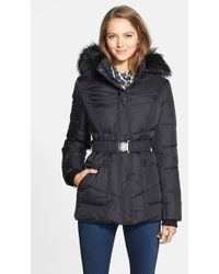 DKNY 'Hayley' Faux Fur Trim Hooded Belted Quilted Jacket - Lyst