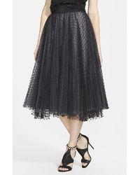 Milly Women'S Dot Tulle Flared Midi Skirt - Lyst