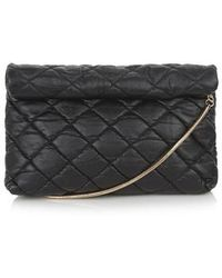 Topshop Quilted Roll Top Clutch black - Lyst