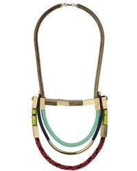 Topshop Fabric And Bar Multirow Necklace - Lyst