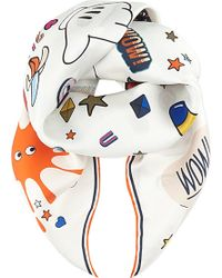 Anya Hindmarch All Over Stickers Scarf - For Women white - Lyst