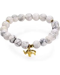 Argento Vivo Elephant Beaded Bracelet white - Lyst